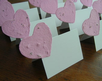 Party place cards with a pink plantable paper heart - Tent place cards - Garden wedding, Escort card, name card - Valentine's Day party
