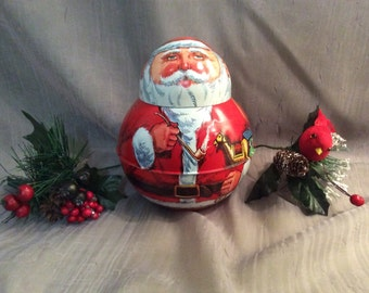 Roll Poly Santa Tin by Chein industries 1980 Made in USA, Reproduction Tobacco Tin