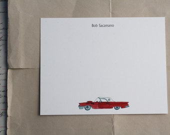Classic Car Thunderbird Tbird Custom Notecard Stationery. Thank You, Any Occasion, Personalize Watercolor Print, Set of 10.