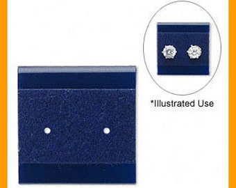 100pcs Earring Card Display Velour Blue Small 1x1 Inches With 2 Holes