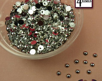 200 pcs 4 mm Silver CHROME HALF PEARL Flatbacks / Decoden Half Pearls