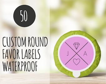 50 Round Product Labels, Round Stickers, Custom Round Stickers, Favor Labels, baby shower favor label, Personalized Wedding
