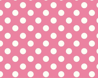 Hot Pink Dot Cotton Fabric by Riley Blake Designs - c360 70 Hot Pink Medium Dots Coordinating Basics by RBD Designers Quilting Cotton