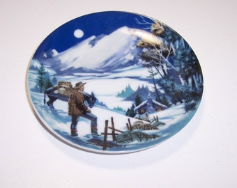 Mini Plate ROCKIES American Portraits Plate Collection 1985 Avon Miniature 4 inch, Rocky Mountains Vintage Collectible Plate, Very Small