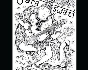 Saraswati: digital fine art print.