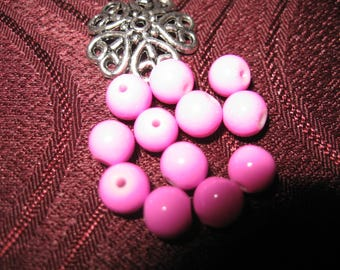 50 way pink howlite stone beads / purple 6 mm