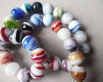New 5 x mixed beads spacers Lampwork Glass round 12 mm