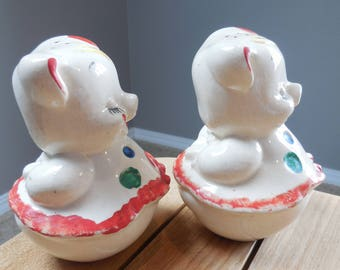 Vintage American Bisque Dancing Pigs Salt & Pepper Shakers