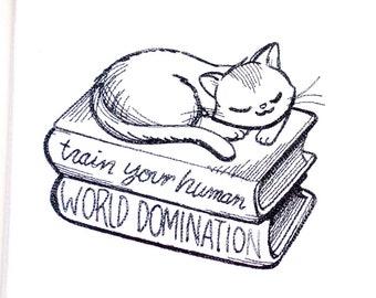 Lecture de torchon de chat | Cadeau d'amant de chat | Broderie serviette de cuisine | Broderie torchon | Personnalisé serviette de cuisine | Torchon de chat