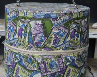 Vintage Traveling Hat Box with International Countries Fabric