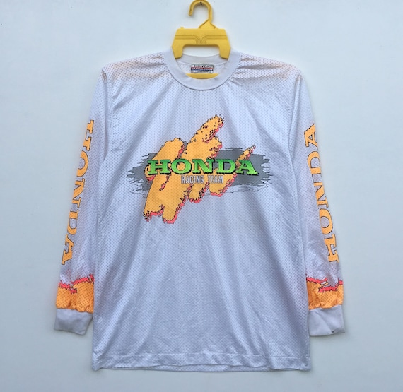 80s In Team Sleeve Honda Japan Honda Vintage Motocross Colourful Racing Made Long gwdHq4