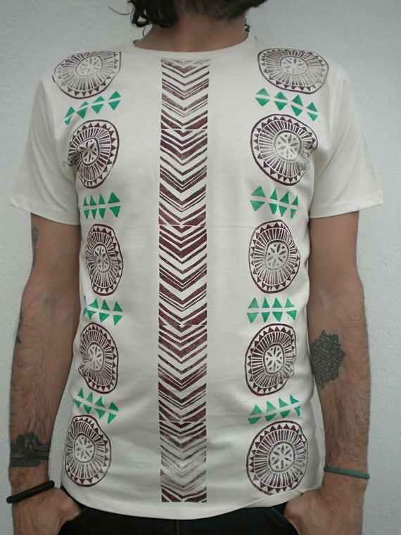 100 % Organic cotton handprint Tshirt man Lr0h8l0s5A