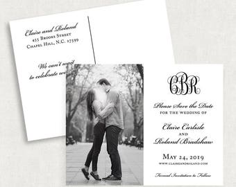 Monogram Save the Date Postcards, Photo Save the Dates, Black and White Save the Dates, Printable Save the Dates, Printed Save the Dates