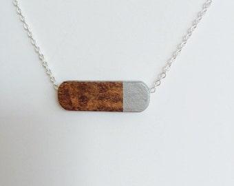 Modern Geometric Wood Bead Necklace silver