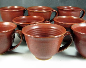 Red Soup Mug Ceramic Cappuccino Coffee Cup 16 oz Mug Hand Thrown Stoneware Pottery