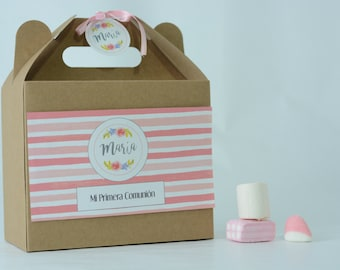 Personalized sweets box for children birthday, communion, baptism, wedding. Picnic Gift Box