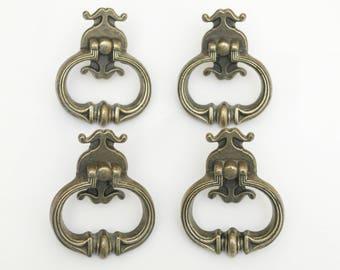 4 - Pat. Pend. Drawer Pulls,Handles,Vintage,Metal,70s,60s,antique,Brass, Dresser,Cabinet,Kitchen,Living room,Hardware