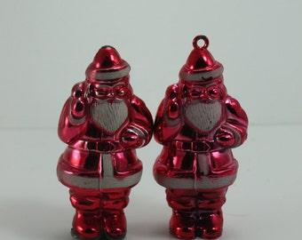 Vintage Celluloid Santa Claus St. Nick Kris Kringle Christmas Ornament Shiny Hard Plastic Set of 2