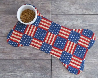 Dog Bone Placemat - Dog Placemat - America The Beautiful Dog Food Mat - Dog Food Placemat - Pet Placemat
