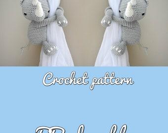 Rhino curtain tieback crochet PATTERN, right or left tieback pattern PDF instant download