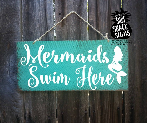 Swimming Pool Plaques Signs Wall Decor: Mermaid Sign Mermaid Decor Mermaid Decoration Mermaids Swim
