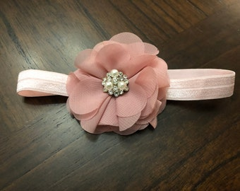 Baby Headband,newborn headband,Baby Headbands, Baby Hair Bows, flower headband, Girls headband, Girls Dusty Pink Flower Headband/Hairband
