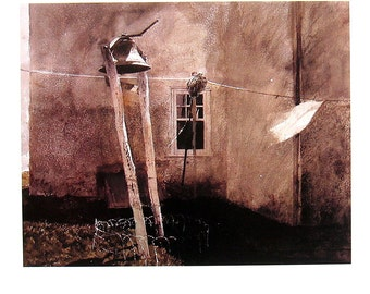 Andrew Wyeth Art - Farm Bell - 1992 Vintage Reproduction Book Page - 12 x 9