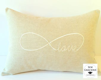 VALENTINES Pillow Cover. I LOVE You FOREVER Infinity Sign. Embroidered Wedding or Anniversary Gift made to fit a 12x16 pillow. Farmhouse.