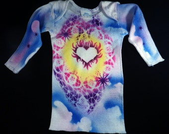 Small Baby Airbrushed Flaming Heart T-Shirt.