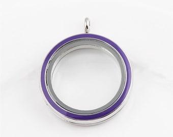 30mm Purple Enamel Living Floating Locket, Living Round Glass Lockets, Memory Locket