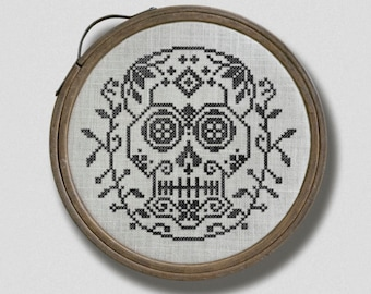 Sugar Skull Hoop: A Day of the Dead Hoop Embroidery Chart - PDF Pattern Booklet, direct download