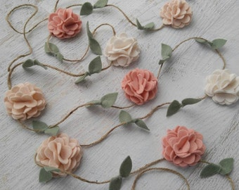 Wool Felt Flower Garland -Wall Hanging - Home Decor - Nursery/ Wedding Decoration - Vintage Pink, Wheat and Ecru - or choose custom colors