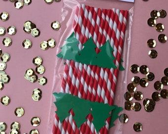 Christmas Tree Straws- Set of 12