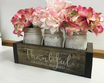 Mothers Day, Gifts for Mom, Thankful, Table Centerpiece, Rustic Home Decor, Gift for Her, Bestfriend Gift, Realtor Closing, Engraved Planter