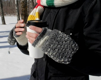 Warm Grey And White Convertible Mittens, Mittens With Fleece, Hand Knit Mittens, Woman Mittens, Wool Mittens, Winter Mittens, Free Shipping