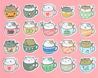 Cats in Cups Sticker Set, Cute Kawaii Stationary, Journal Album Label