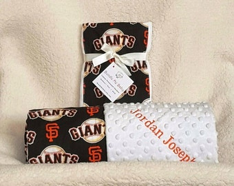 SF Giants Baby Blanket Toddler Minky Name Embroidered Gift Set Large Minky PERSONALIZED Baby Boy Girl Yankees Royals Astros Mets Orioles