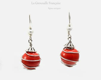 Earrings // unique piece // red // silver-colored