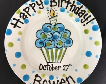Hand Painted Personalized Birthday Plate - Blue and Green Cupcake