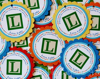 Baby Alphabet Block Favor Tags or Stickers - Set of 12 Birthday Party Baby Shower Decoration