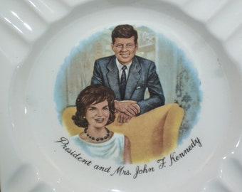 Vintage 1960's JFK/Jackie Kennedy Ashtray.  John F. Kennedy and Jackie Kennedy, inside of a circle.