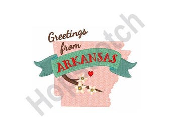 Arkansas Greetings - Machine Embroidery Design