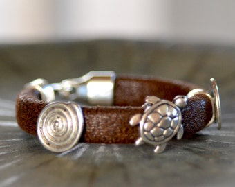 Boho Leather Silver Bracelet.  Turtle Silver Sliders Bracelet. Men's, Women's, Teen Leather Bracelet. Bohemian  Jewelry .