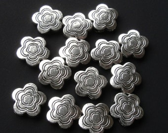 Silver Flower Spacer - Silver Daisy Beads -  Drilled Spacer Beads - 14mm -  Diy Metal Jewelry Findings  (30) Pcs - Earrings Components