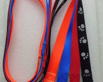 Leashes Durable Nylon Webbing Metal Lever Style Clip in 4 or 6 foot Lengths