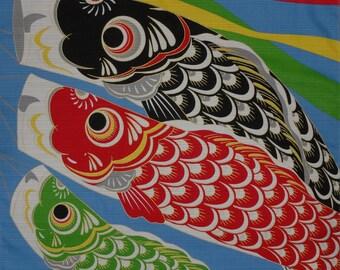 Furoshiki Cloth 'Three Koinobori' Carp Streamers Cotton Japanese Fabric 50cm w/Free Insured Shipping