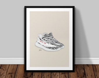Yeezy Boost 350 v2 Zebra Illustrated Poster Print | A6 A5 A4 A3