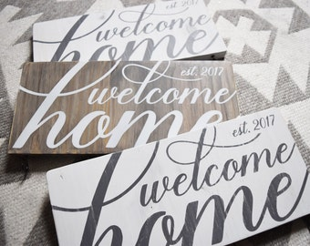Rustic Welcome Home Sign with Key Hooks
