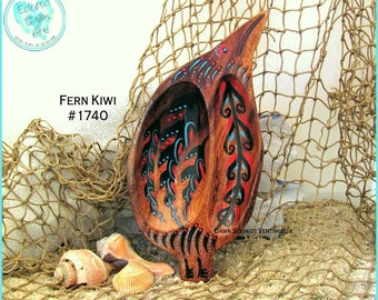 Tribal Kiwi Bowl, Handpainted Wood, Red, Black, Turquoise, Tiki Bird, #1740 Fern Kiwi