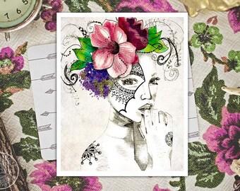 bohemian art - mixed media girl illustration prints - boho decor - portrait art